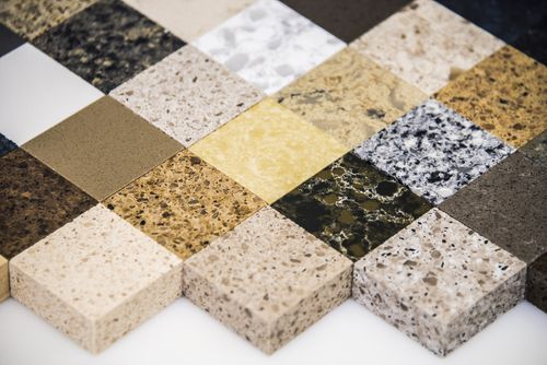 granite vs quartz - quartz counter samples pic from shutterstock