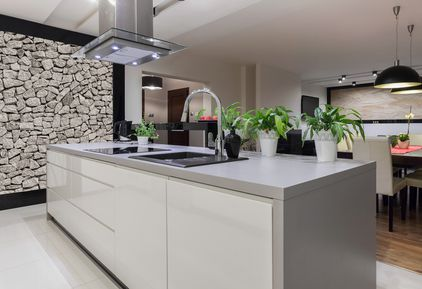 granite vs quartz - grey quartz counter pic from shutterstock